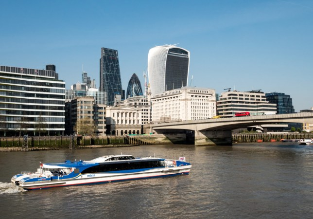 A Thames Clipper travelling across the river Thames