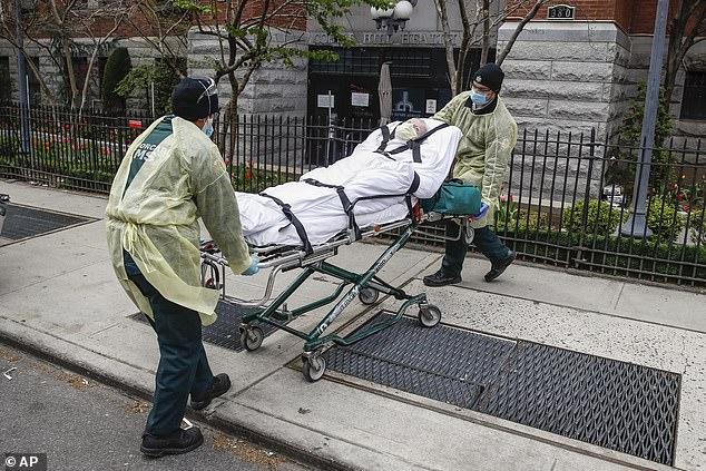 More than 50% of long-term care home residents who tested positive for coronavirus in Maryland had no symptoms at the time of testing, a new study found. Pictured: a nursing home resident in New York is wheeled to an ambulance after showing signs of coronavirus