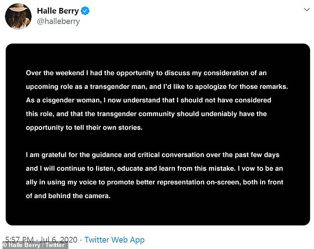 Apology: Halle Berry took to Twitter on Monday evening to apologize for her 'remarks' and admitted that she should have not 'considered this role' in the first place