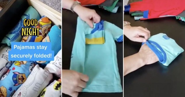 Mum's hack to neatly fold kid's pyjamas in sets in seconds Pics: @organizingbyivonne/TikTok