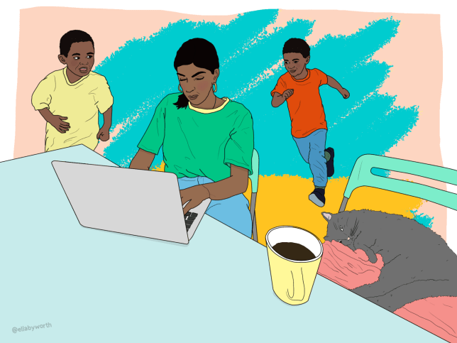 a drawing of someone using a laptop near their children