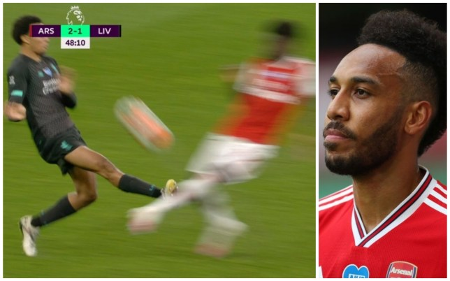 Pierre-Emerick Aubameyang has spoken out after Trent Alexander-Arnold avoided a red card for his challenge on Bukayo Saka