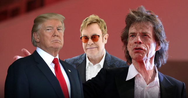 Donald Trump, Sir Elton John and Mick Jagger