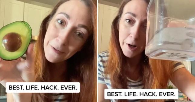 woman on TikTok with avocado hack
