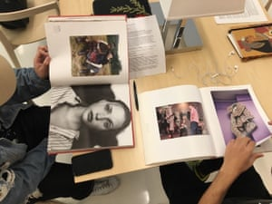 Students conducting a visual analysis exercise for the course 'Fashion and Race' at Parsons School of Design