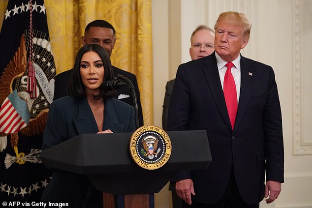 Potential first lady? Wife Kim Kardashian (pictured in June 2019) would be no stranger to the White House either, having met with president over the years lobbying for criminal justice reform