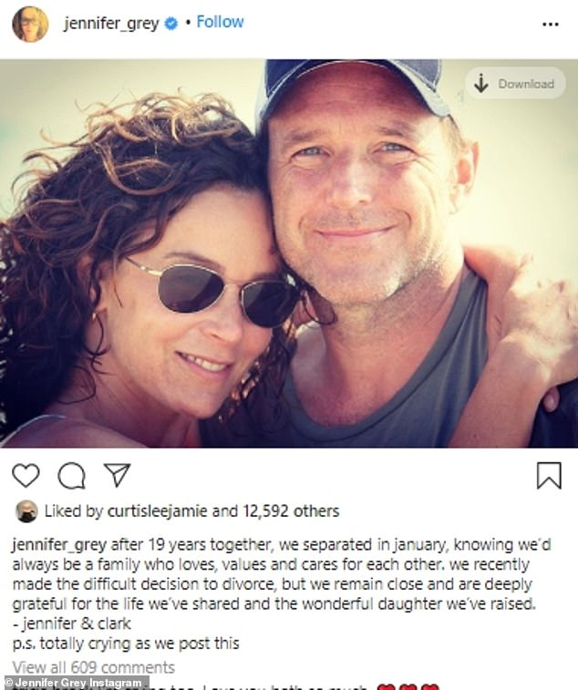 Breaking the news: Jennifer posted a photo of herself with her arms wrapped around Clark, and revealed they were both 'totally crying' as they broke the news to followers