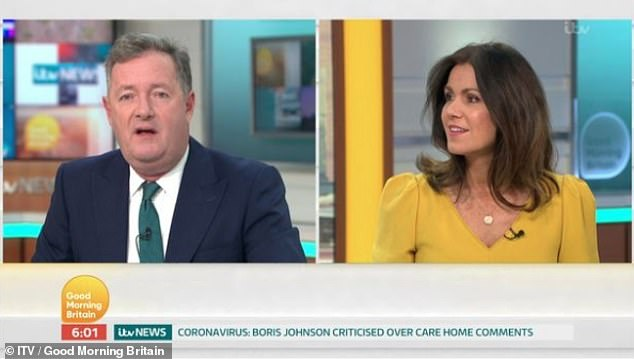 Awkward:During the episode, Susanna highlighted the severity of the allegations, while Piers claimed their case 'diminishes people that go through real abuse'