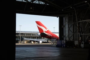 Qantas' last remaining 747 Jumbo Jet prior to its departure out of Sydney for the final time.