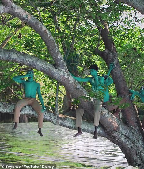 Eyes closed: The video features a number of shirtless male character sitting in a tree, covering their eyes, with teal body paint on their torsos, while a voice is heard asking, 'Who are you?'