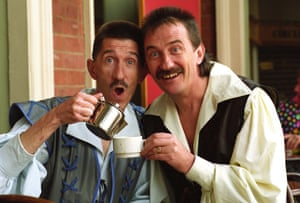 The Chuckle Brothers' Paul and Barry Elliott in character for Snow White in 1993.