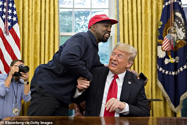 Kanye infamously revealed his support for Donald Trump in 2018 before paying a visit to the White House. Above he is pictured in Trump Tower in December 2016