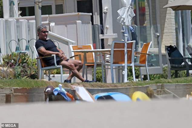 Downtime: Stallone's hectic film-making schedule has come to a halt amid the COVID-19 pandemic.