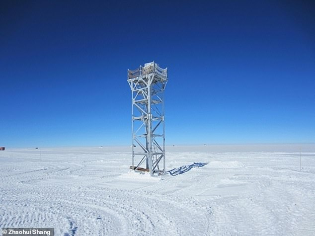 The researchers placed their telescope system, pictured — which has a 25 centimetre (5.9 inch) aperture — on a 26 feet-high platform above the surface of Dome A