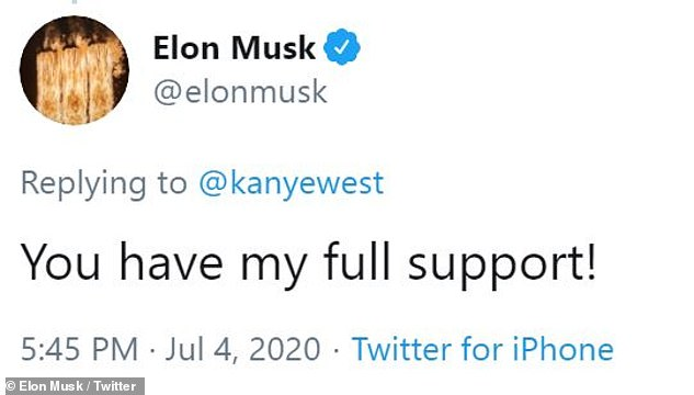 Biggest supporter: Fellow eccentric billionaire Elon Musk sparked rumors that he could be Ye's running mate, as he responded to the tweet: 'You have my full support!'