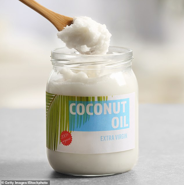Easy to find: The former Victoria's Secret supermodel also says it's a bargain. Coconut oil can be found in supermarkets for about $8 a jar; here is a stock image of a generic choice