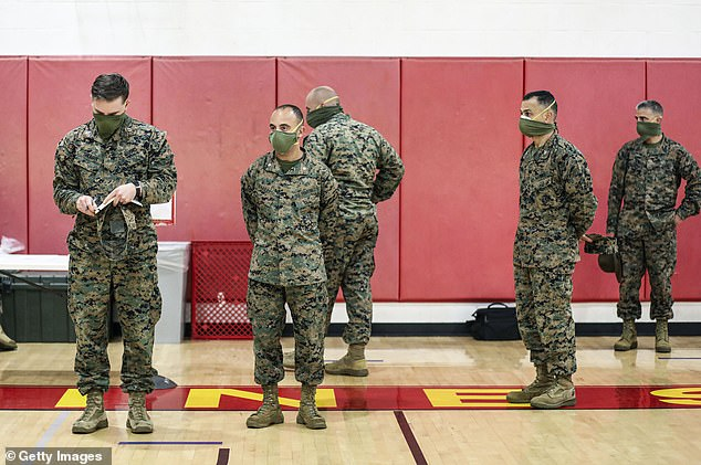 Researchers also want to learn why some young people show few to no symptoms but others have more severe cases. Pictured: Marine Corps instructors stand while recruits receive their issued gear at the Marine Corps Recruit Depot on April 13 in San Diego, California