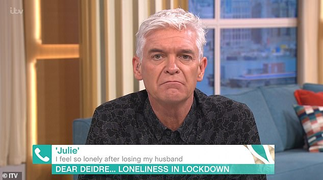 Sad: Phillip was offering comfort to a This Morning viewer who admitted she was struggling with loneliness in lockdown after her losing her husband last year