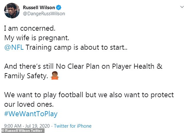 Expressed his fears: '@NFL Training camp is about to start.. And there's still No Clear Plan on Player Health & Family Safety,' the Seattle Seahawks quarterback, 31, tweeted on Sunday