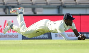 England's Jofra Archer takes a catch to dismiss West Indies' Jason Holder.