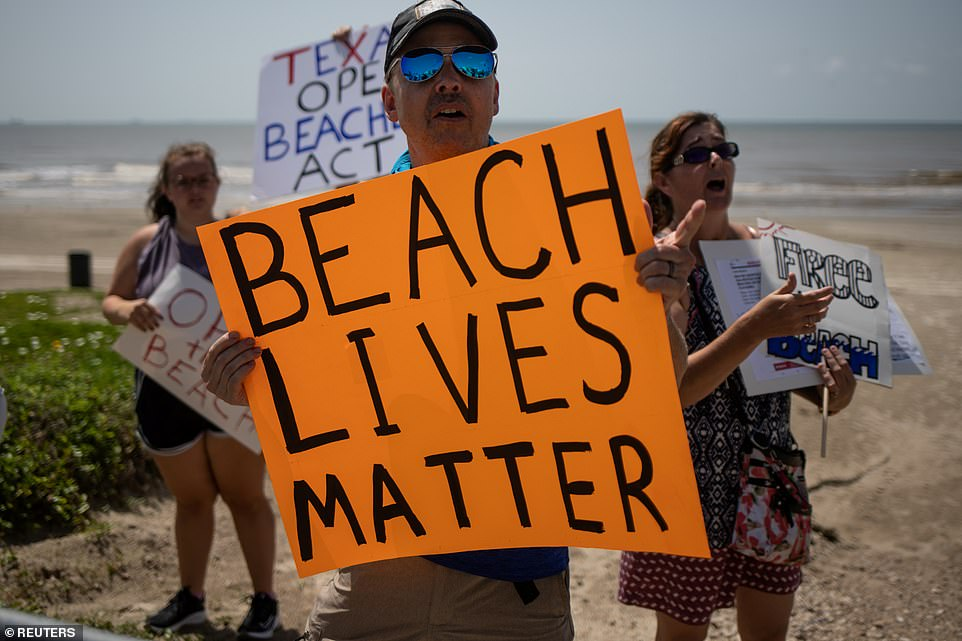 Several oceanside cities and counties in Texas closed their beaches for the holiday weekend, but protestors flouted the orders in Galveston