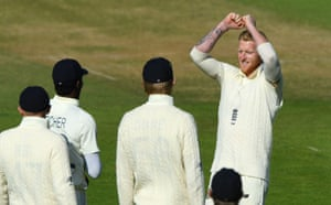 Stokes celebrates with Archer after taking the wicket of Holder fir five.