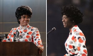 Uzo Aduba as Shirley Chisholm, pictured in Florida in 1972.