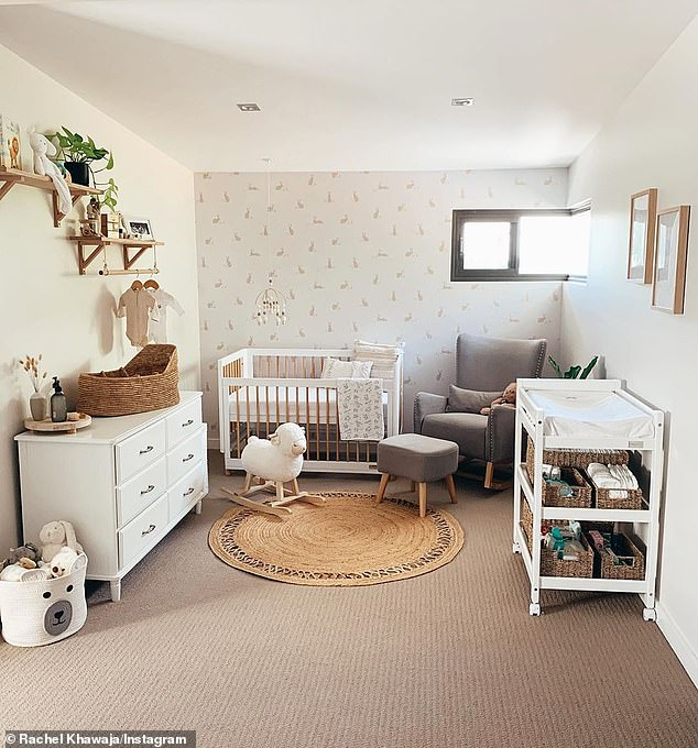 Not long now! The pair - who recently showed off their stunning gender-neutral nursery (pictured) - are waiting until the birth to find out their baby's gender. She said they will add pops of colour once the baby is born