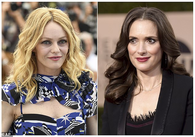 Support: Johnny's exes, French model Vanessa Paradis (L) and actress Winona Ryder (R), have defended him in statements saying he was never violent or abusive toward them