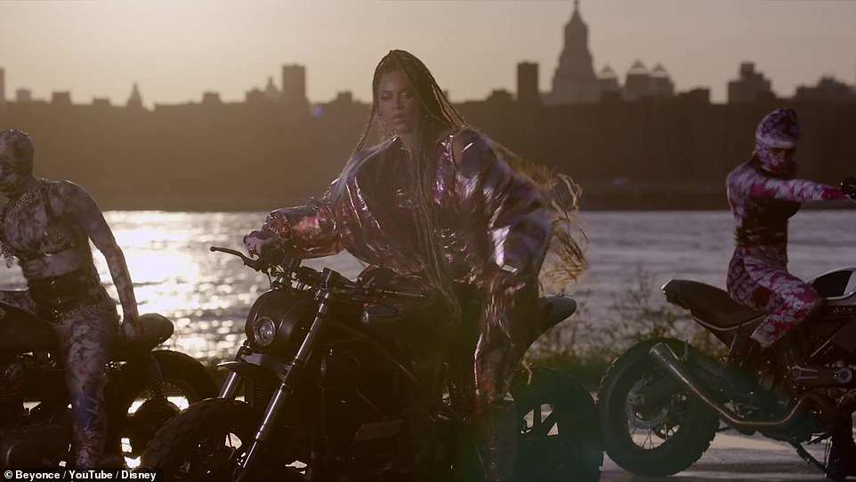 End:The video ends with a shot of Beyonce decked out in a silver ensemble sitting on a motorcycle with a city skyline in the background