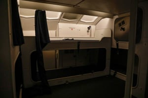 The small bed bunks where the crew rest.