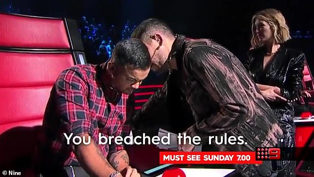 'Breached': This was demonstrated during the 2020 season when Guy Sebastian ignored the rules by turning his chair for a singer during the Blinds when he already had a full team