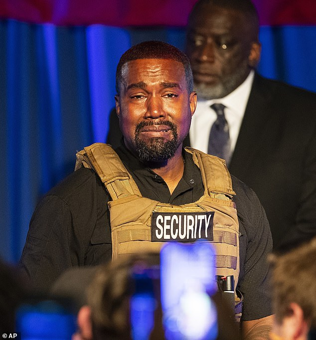 Troubled: Kanye West, pictured Sunday at his first political campaign rally, is believed to be suffering from a bad episode of his bipolar disorder
