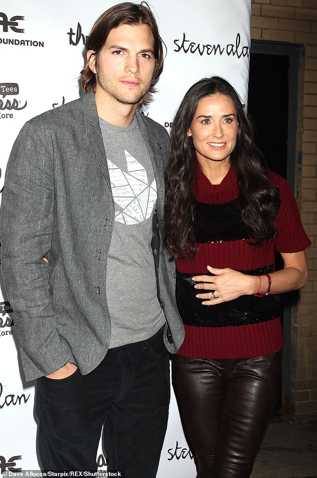 Starting again: She said she broke her sobriety during her marriage to Ashton after he downplayed the existence of alcohol addiction; pictured in 2011