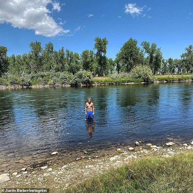River rat:He also shared numerous shots of himself shirtless, while playing around in a picturesque river