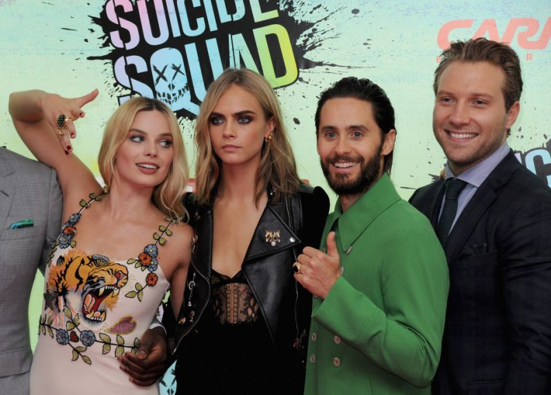 """LONDON, ENGLAND - AUGUST 03: Margot Robbie, Cara Delevingne, Jared Leto and Jai Courtney attend the European Premiere of """"Suicide Squad"""" at Odeon Leicester Square on August 3, 2016 in London, England. (Photo by Dave J Hogan/Getty Images)"""