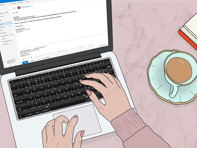 Illustration of someone sat at their laptop with a cup of tea on the side