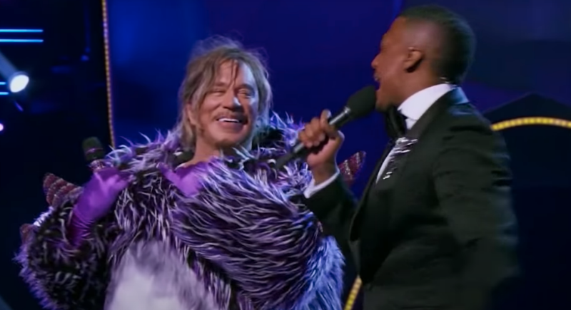 Mickey Rourke unmasked himself on The Masked Singer. (Fox)