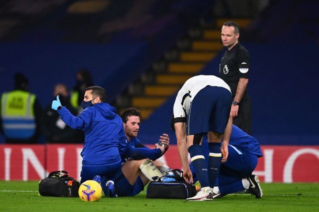 Ben Chilwell receives treatment after his ankle injury in Chelsea's Premier League clash with Tottenham