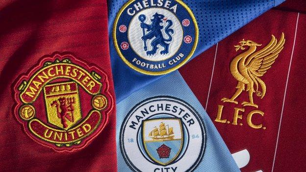 Badges of the four English Champions League teams