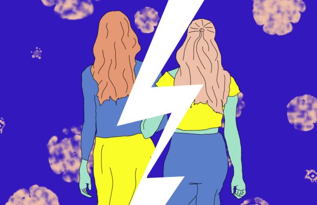 Metro illustrations, friends, split, breakup, falling out,