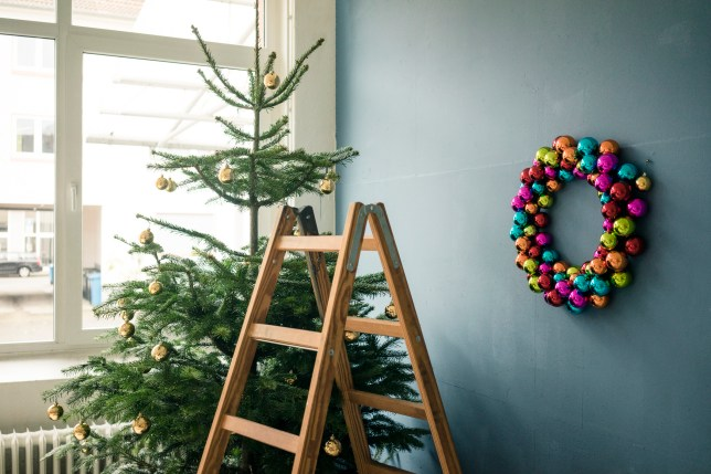 Christmas tree, Christmas wreath and ladder in a loft.