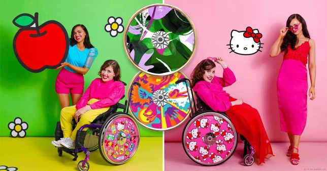 Izzy Wheels creators Ailbhe and Izzy Keane post with their colourful wheelchair covers
