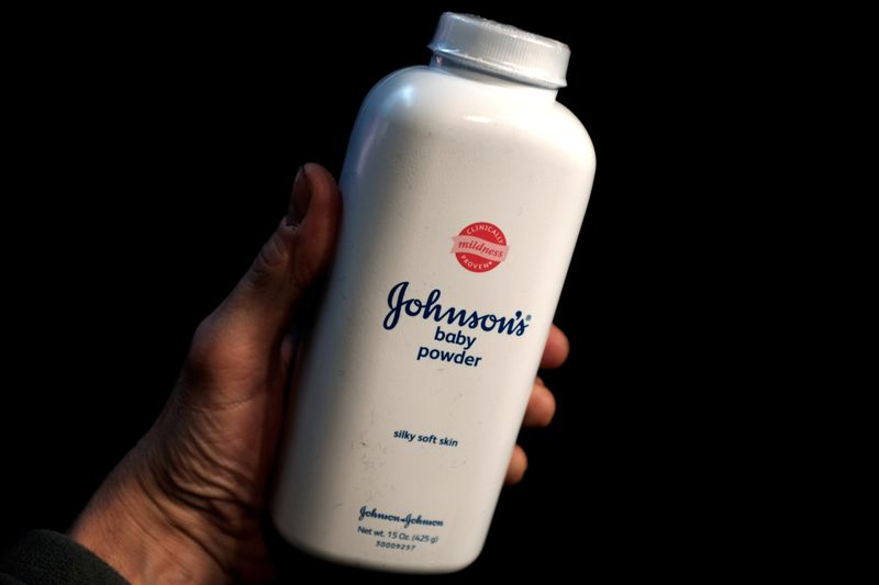 © Reuters. A bottle of Johnson's Baby Powder is seen in a photo illustration taken in New York