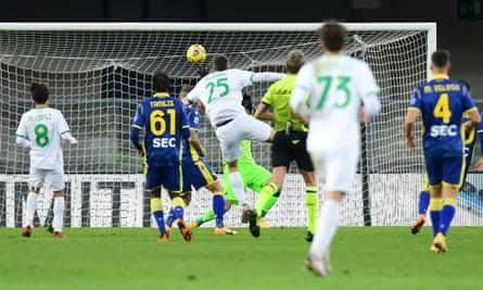 Domenico Berardi (No 25) scores Sassuolo's second goal at Verona.