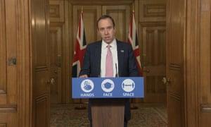Health Secretary Matt Hancock during a media briefing in Downing Street, London, on coronavirus.