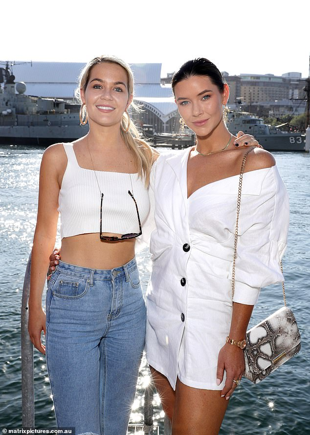 Dare to bare! Bachelor's Brittany Hockley, 33, (R) and Helena Sauzier, 25, (L) flashed the flesh as they got glammed-up for a yacht party in Sydney on Thursday night