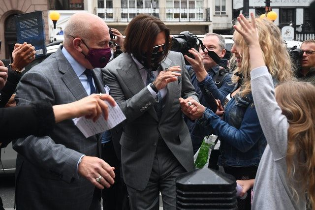 Johnny Depp arriving at the High Court during the case