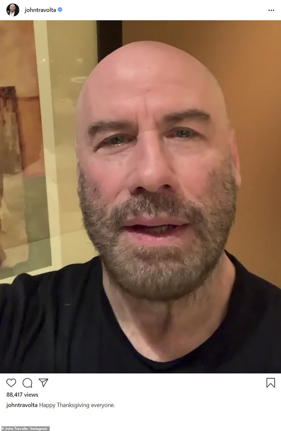 Sweet: John Travolta shared a selfie video greeting his fans on the holiday