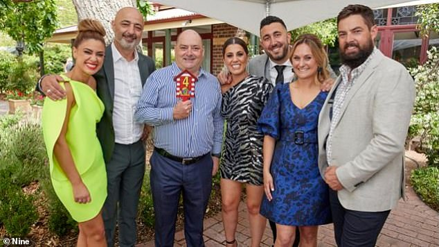 Very generous bidder! Danny purchased Sarah and George's (pictured far left) property for $4,000,002, as well as Daniel and Jade's (pictured far right) for $3.8million, and Harry and Tash's (pictured centre) for $4million